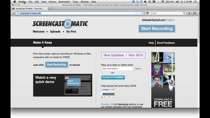 онлайн сервис для записи видео с экрана