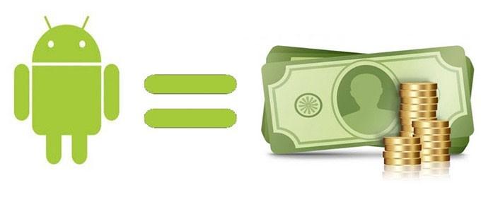 зеленый человечек Андроид, знак равно и деньги