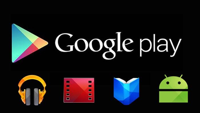 надпись Google Play и значки приложений