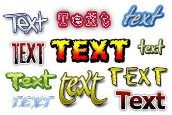 слово текст написано разным шрифтом и цветом