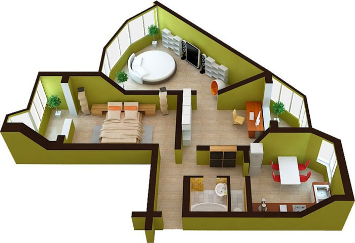 пример 3d обстановки комнат