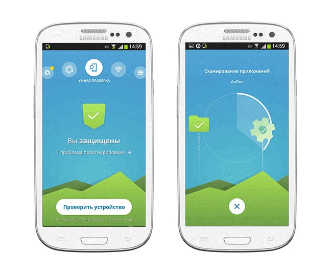 монитор смартфона и проверка антивирусом Аваст