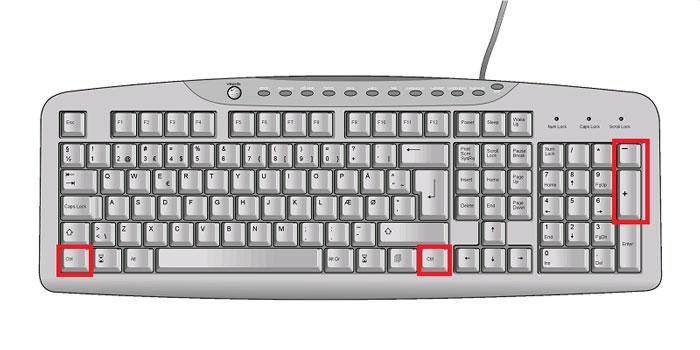 кнопки Ctrl, + и - на клавиатуре ПК