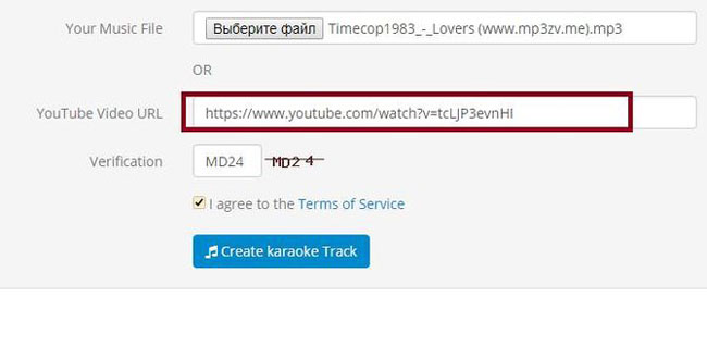 добавление адреса на ролик в Ютубе