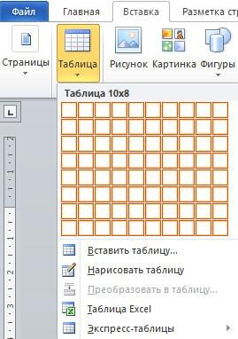 пункт Таблица