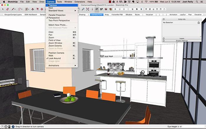 кухня, созданная в проге и панель инструментов