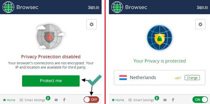 кнопка активации VPN Browsec