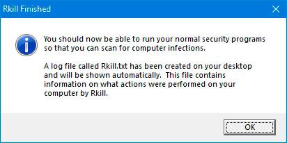 Конец сканирования RKILL