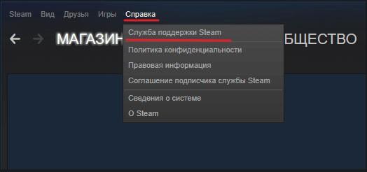 пункт Служба поддержки Steam в разделе Справка