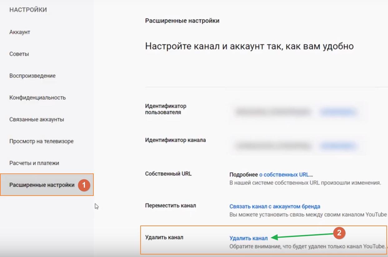 Ссылка на удаления канала Youtube