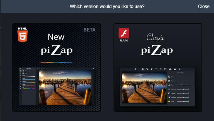 выбор классической или новой версии Пизап