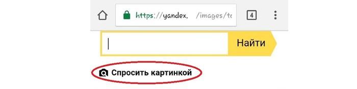 опция Спросить картинкой в Яндекс