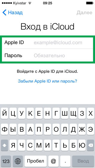 ввод пароля и apple id