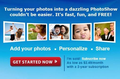 скриншот сайта Фотошоу с клавишей начала работы