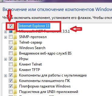 пункт Internet Explorer