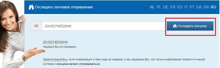 скрин сайта Track24.ru со строкой поиска заказа