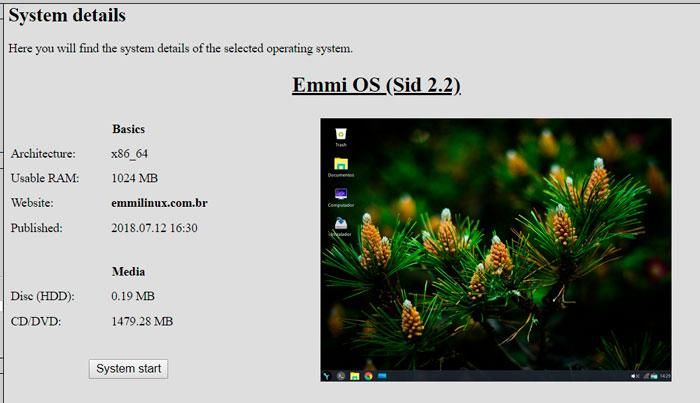 Страница запуска Emmi OS