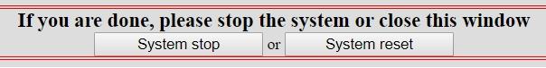 Кнопки для сброса и остановки тестирования Linux