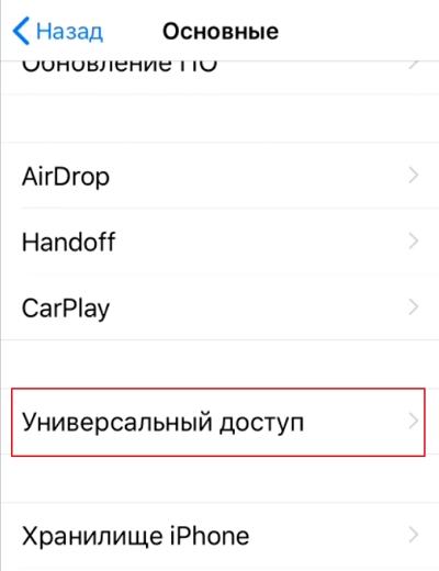 Универсальный доступ iOS 12
